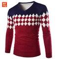 2016 Novos homens marca Camisola homens pullover camisola roupas hombre camisa listrada com decote em v manga longa vestido de inverno de espessura de lã acrílica