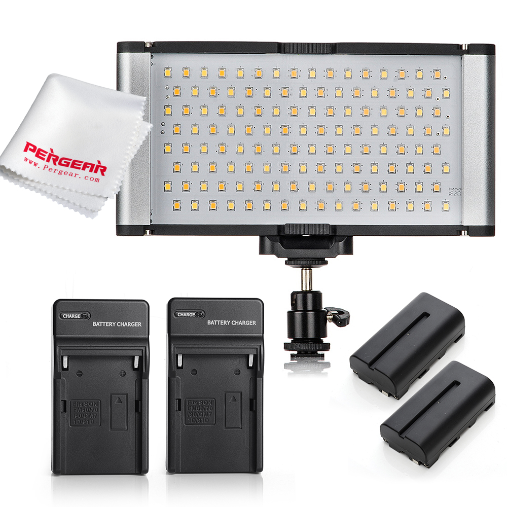 High Power 128 LED SMD Lamp Beads Video Light Panel CRI 95+ Color Temperature Adjustable 3200K-5600K + Batteries + Charges