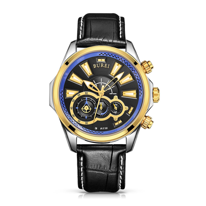 BUREI 17001 Suisse montres hommes de luxe Racing speed master series Chronographe lumineux saphir bleu relogio masculino