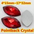 Siam Navette Forma de Cristal Extravagante Stone Point Voltar Vidro Pedra Jóias DIY Accessory.5 * 10,7*15,9*18mm, 13*27,4*15mm, 17*32mm