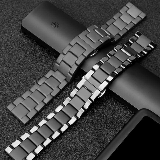 20mm 20mm קרמי watchbandעבור Samsung S2 S2רצועת החזרהעבור לצפות Huawei 2שעון גלקסי 42/46פרפר אבזם רצועה