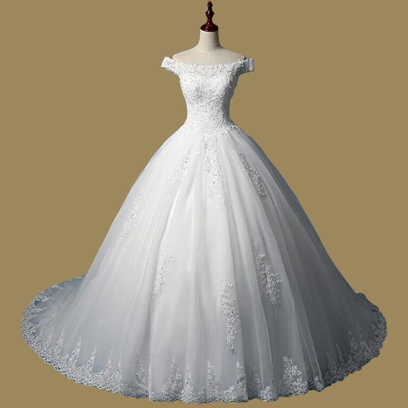 2019 High Quality Boat Neck Lace Wedding Dresses Ball Gowns Lace Up Bride Dres Vestidos De Novia Plus Sizes Customized Dress