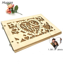 Wedding Signature Book Alternatives Rustic Guest Photo Frame Wood Engraved Album Gift for Couple