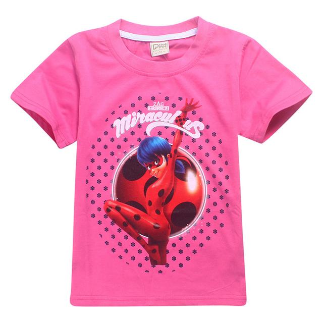 Milagrosa Mariquita Camisetas Niñas Niños Cosplay Tee Casual Tops Traje Ropa de Niños Camisa