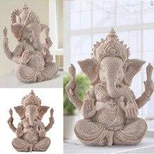 Sandstone Ganesha Elephant Head God Statue Sculpture Handcarved Figurine Home Desk Decor Craft