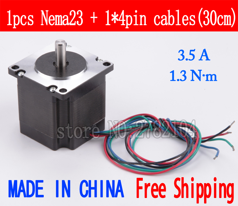 Free shipping 1pc Quality 57HB2401 4-lead Nema 23 Stepper Motor 57 motor 57BYGH 3.5A 1.3N.m CNC Laser and 3D printer