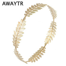 AWAYTR Vintage Luxury Leaf Crown Hairbands Tiaras Hair Jewelry For Woman Romantic Wedding/Party Crown Hair Accessories Gift