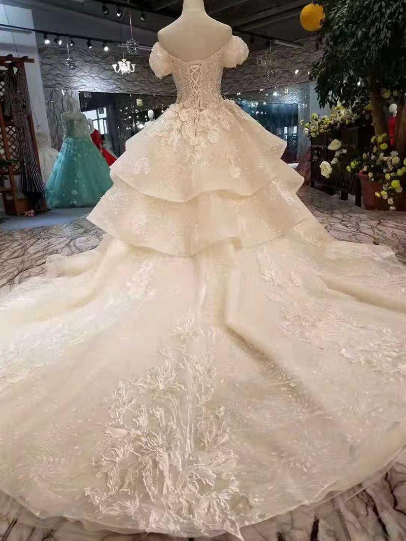 Fairy Wedding Dress.Ls11034 Fairy Wedding Dresses Multi Layers Skirt Sweetheart Puffy Short Sleeves Wedding Gowns Summer Small Bride Dress Wedding