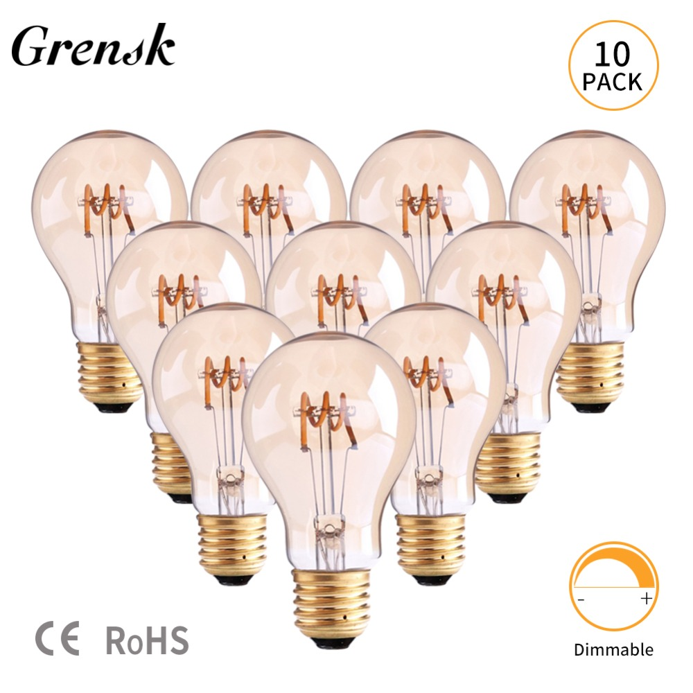 Grensk Vintage Filament Led Bulb E27 Led Globe Light Dimmable A19 110V 220V Soft LED Lamp