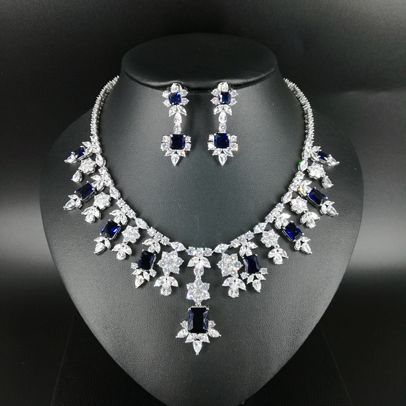Здесь продается  NEW FASHION Retro blue square zircon necklace earring wedding bride banquet formal dinner dress pop jewelry set free shipping  Ювелирные изделия и часы