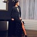 Vestido de formatura 2017 Sexy Vestido de Noche Recto Negro Rhinestones del Satén Vestidos de Baile Raja Del Lado de Manga Larga Vestido de Fiesta