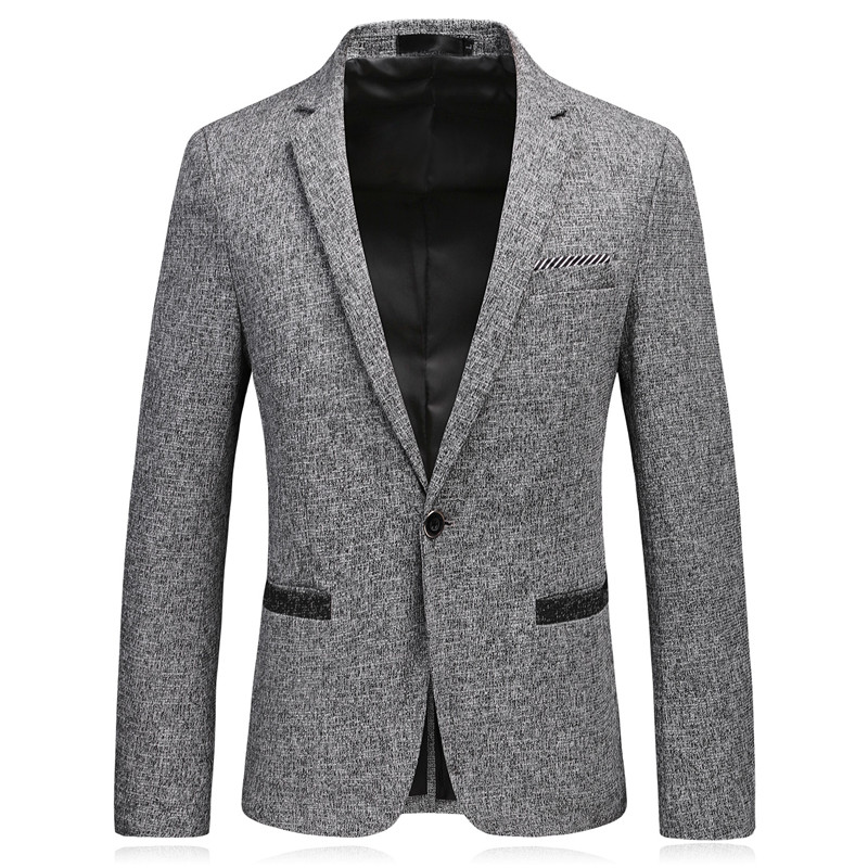 Loldeal 2018 Light Grey New Winter Casual Blazers Men