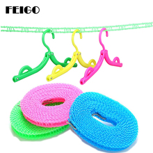 FEIGO 3m /5m Portable Outdoor Strong Nylon Non-Slip Laundry Clothesline Rope Travel Camping Windproof Clothesline Hanger F764