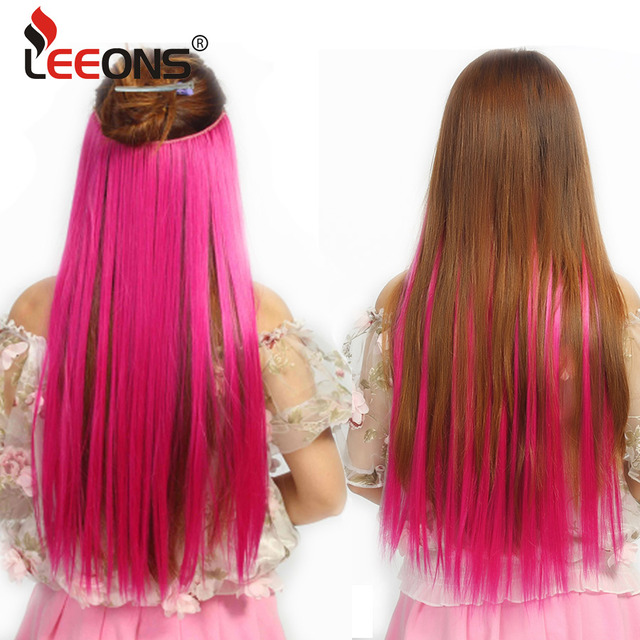 Leeons Invisible Wire Hair Extensions Long Straight Silky No Clips