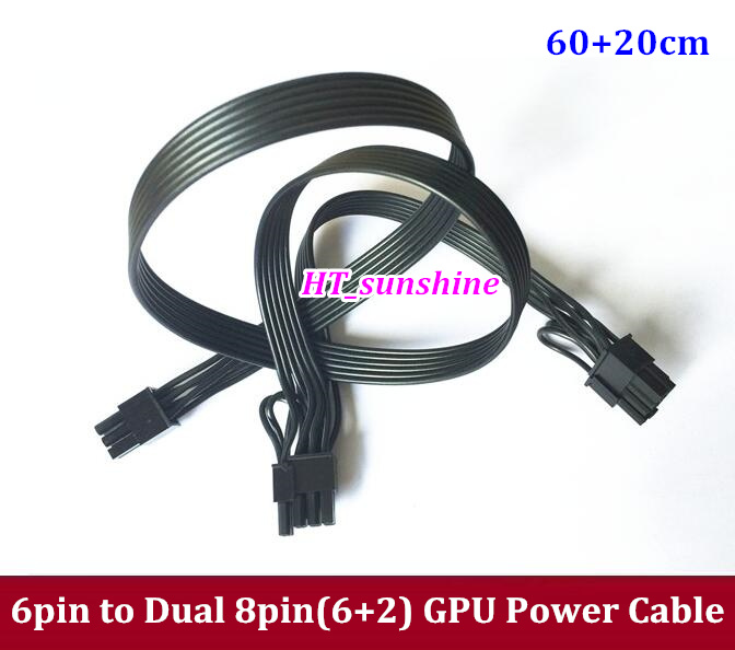 High Quality PCIE 6Pin Male to Dual 8Pin(2+6) Male PCI-E GPU Video Card Power Cable Y-Type 20cm+60cm Ribbon Cable