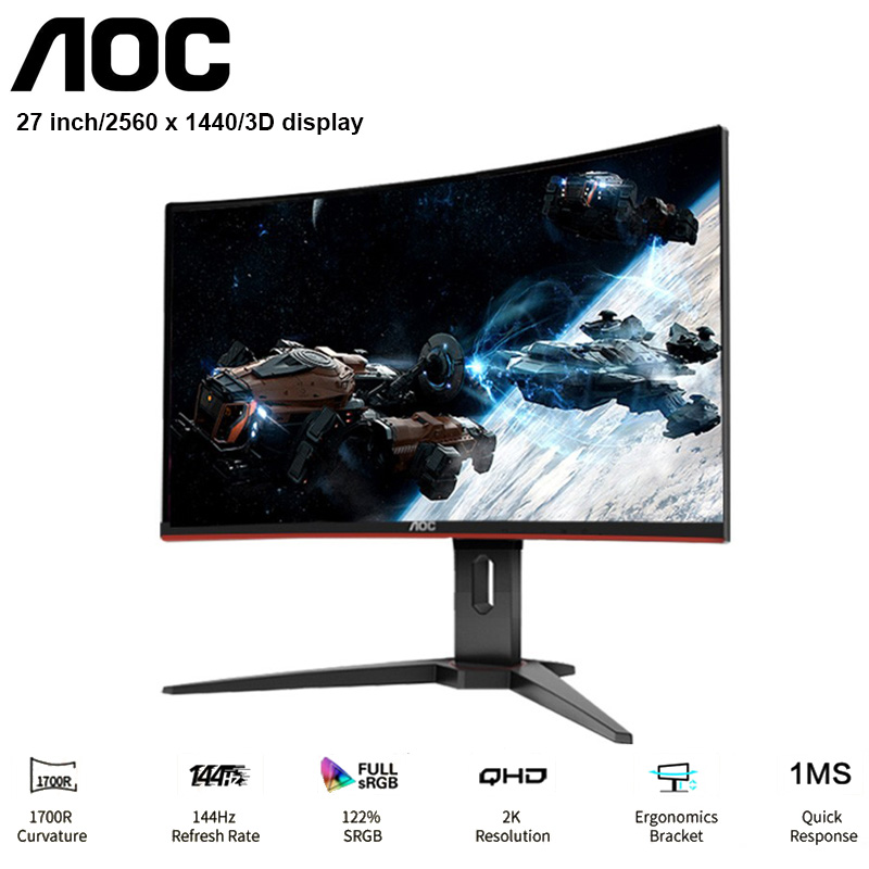 AOC CQ27G1 Monitor Curved Liquid Crystal Display 27'' 2560 X1440P 3000:1 Refresh Rate 1MS Responds 2 X HDMI + DP + 3.5mm Audio