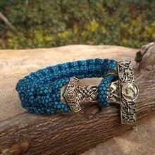 Viking Rune bead Paracord Bracelets Thor Mjolnir Hammer Amulet Rune Knot Scandinavian Bracelet Light Blue Paracord