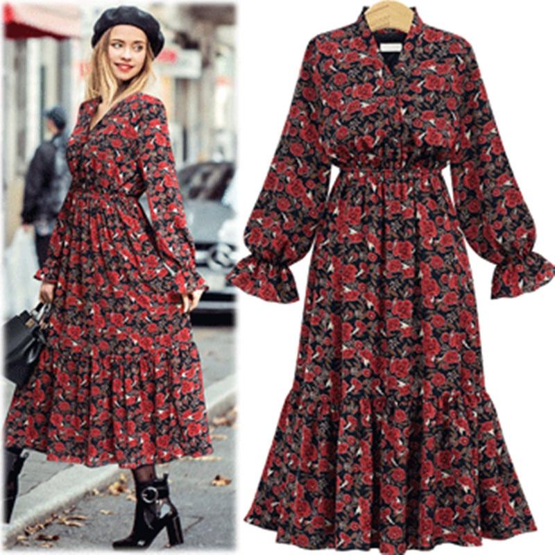 Large Size Women Dresses 5xl Female Fashion Lantern Sleeve Spring Autumn Long Sleeve Chiffon Floral V Neck Pleated Maxi Dresses
