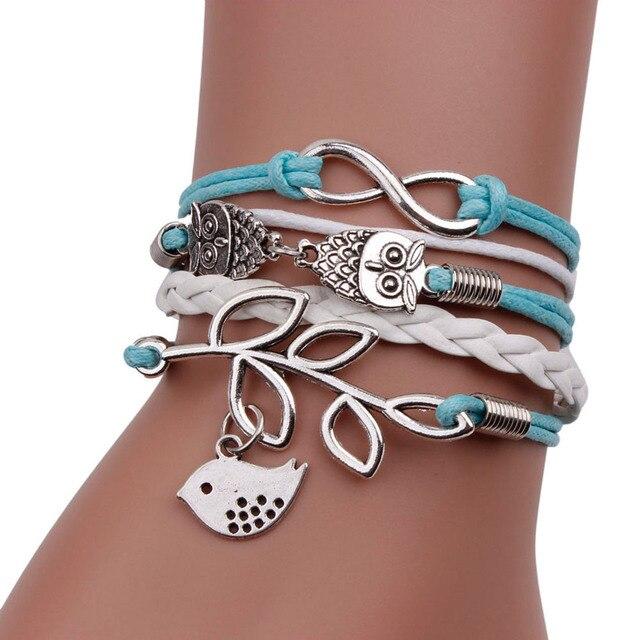 Gofuly 2018 Hot Sale Jewelry High Quality Bracelet Retro Women 8 Owl Leaf Bird Bracelet Bangle Charm Cuff Jewelry Wedding