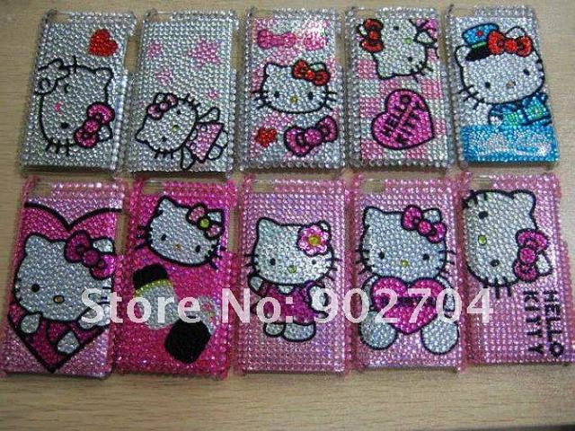 10pcs/lot  hot sales hello kitty bling rhinestone crystal pattern cell/mobile phone case for ipod touch 4