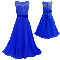 High Quality Girls Lace Mopping Long Dress Wedding Party Dress Children Flower Princess Party Dress Baby