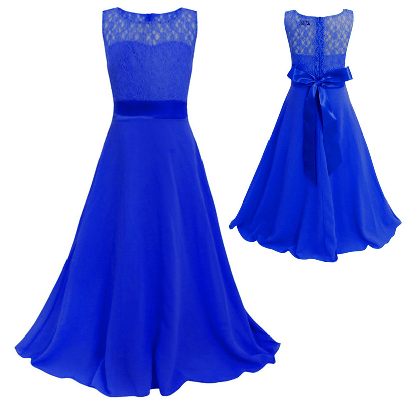 Kids Flower Lace Dress for Girl Wedding Party Bridesmaid Floral Girl Dress Mop the floor Ball Gown Prom Formal Maxi Dress Платье