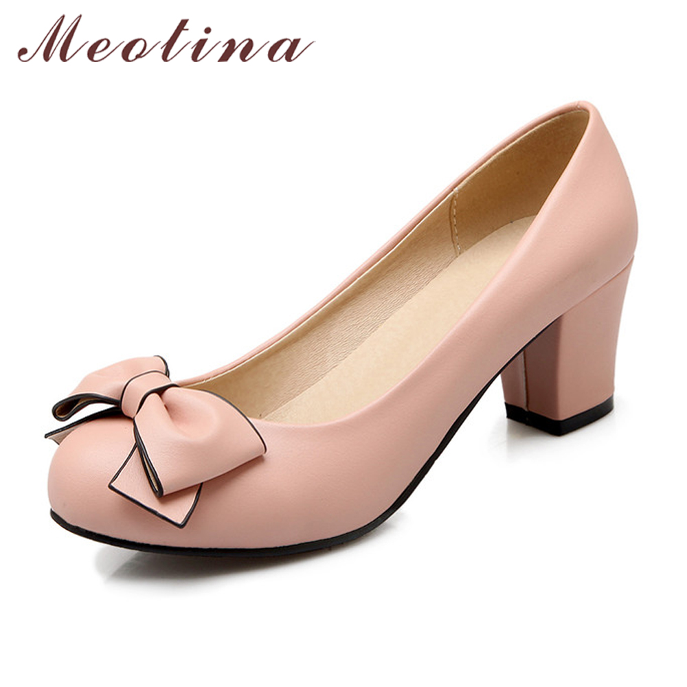 Meotina High Heels Pumps Ladies Shoes Bow Thick High Heels Round Toe Pink Heels Spring Slip On Shoes Female Pumps Big Size 42 43