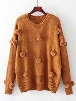 Women Fall Pom Pom Design Patch Drop Shoulder Knitwear Fashion O Neck Long Sleeve Tassel Sweater