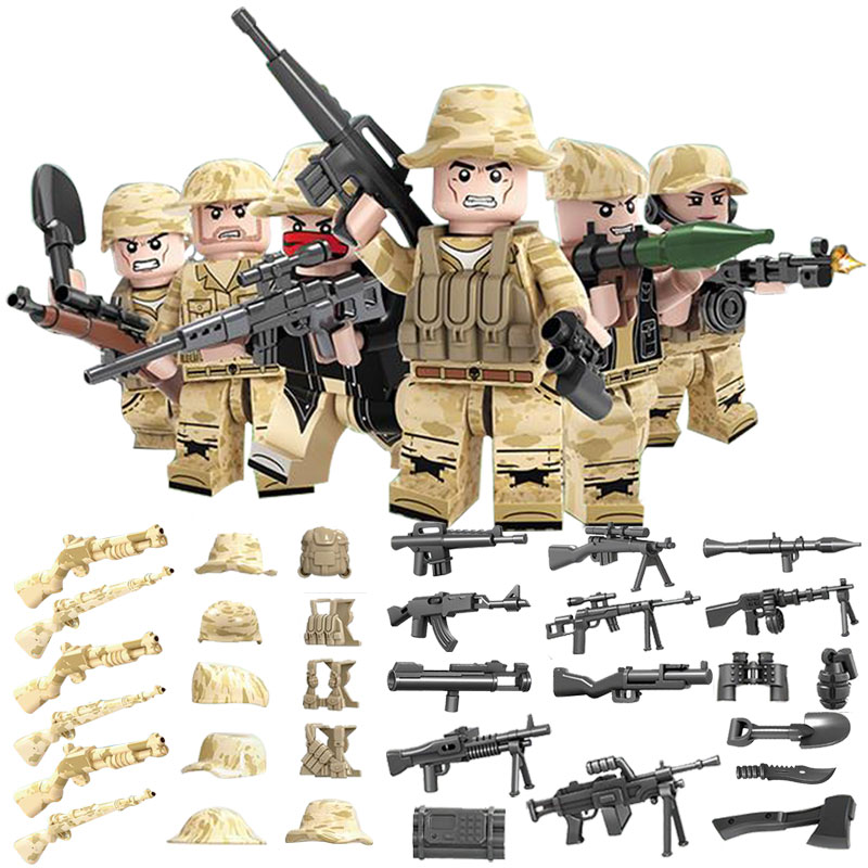 Model Building Frugal Legoing Military 6 Pieces/set Glorious Mission Amy Swat Soldiers Action Figures Diy Models & Building Blocks Toys For Children