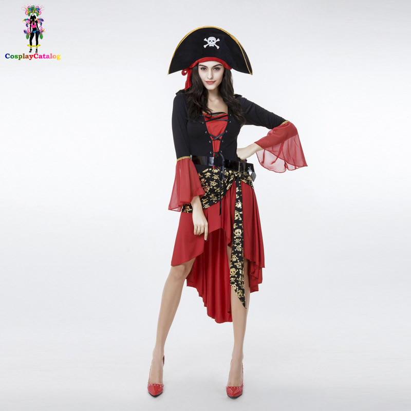 Treasure Island Buccaneer Pirate Costume Halloween Spanish/Caribbean Fancy Adult Sexy Red Dresses Pirate Matey Costumes with Hat
