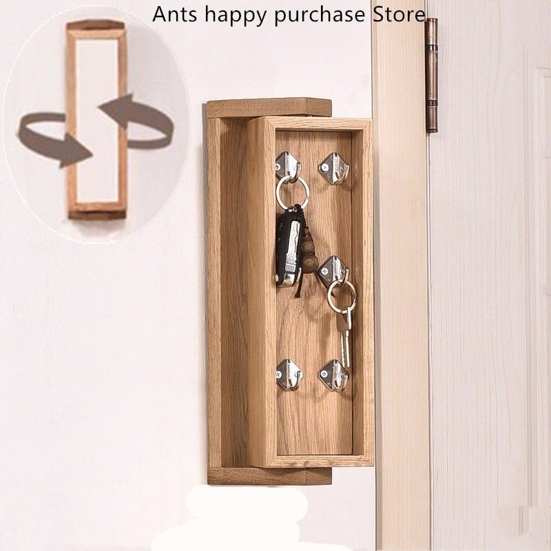 White oak rotating key box Full solid wood vanity mirror Entrance key box Wall hanging Storage
