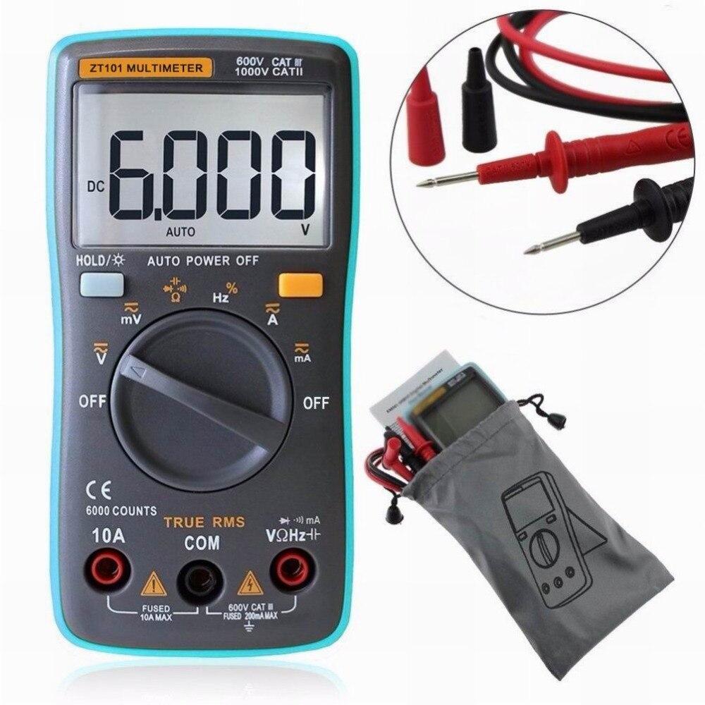 Professional Digital Multimeter 6000 Counts Backlight ACDC Ammeter Voltmeter Resistance Current Ohm Portable Meter ZT101