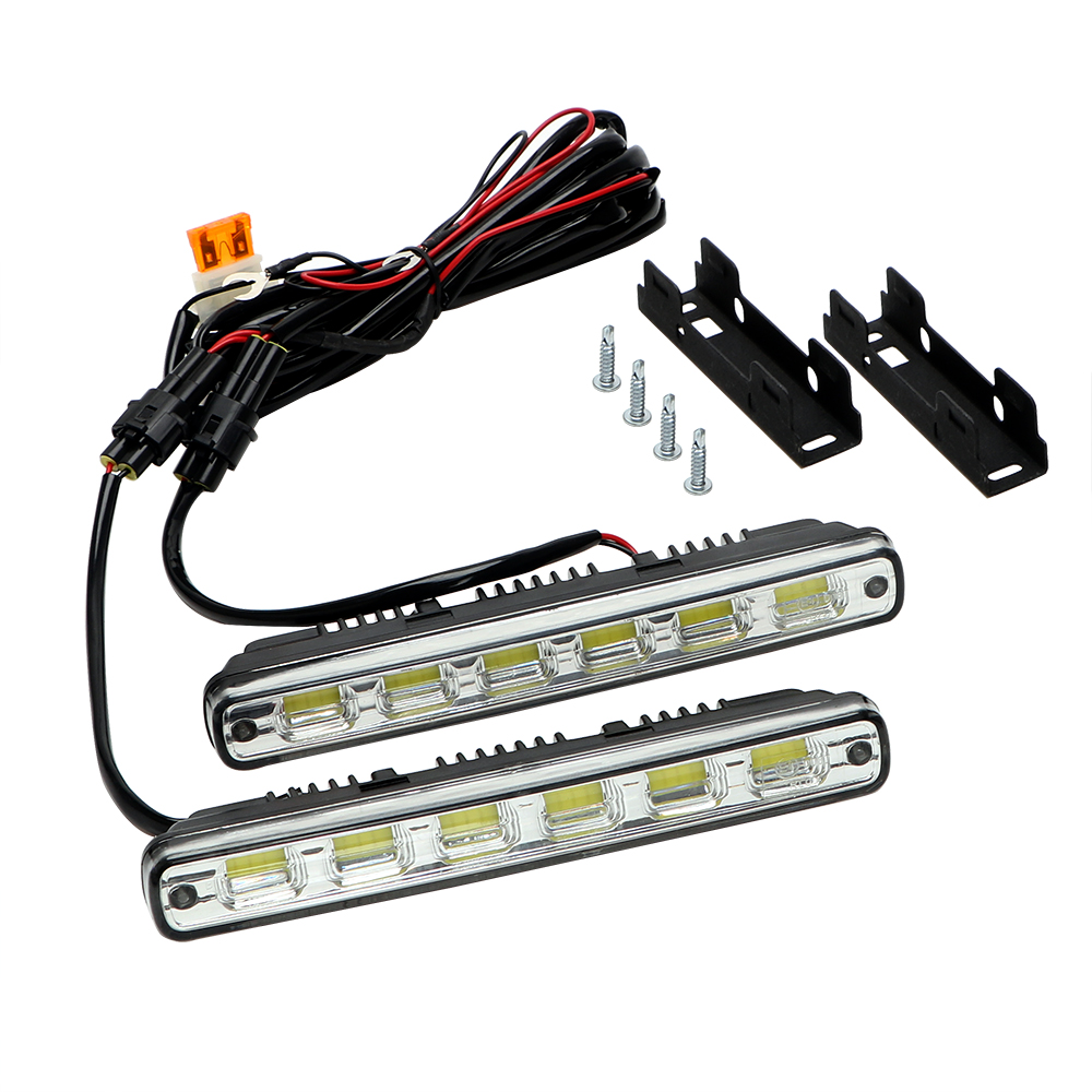 2Pcs LED COB Car Lights Car-styling DRL Fog Lamps Headlights Daytime Running Light Head Lamp White DC 12V 7W 180mm 6leds