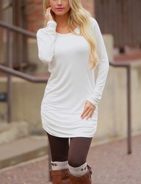 9400d29b9b72c BTS 2018 primavera camiseta vestido mujeres mini vestido de manga larga de  algodón blanco invierno negro