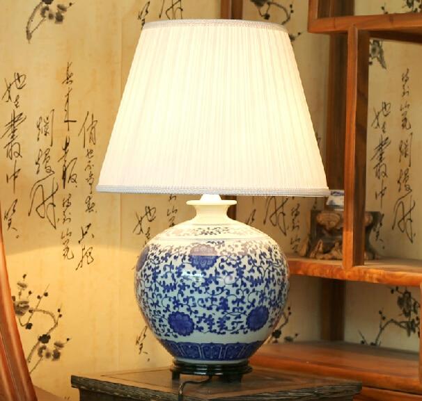 Античный синий и белый керамика китайский стиль настольная лампа ofhead старинные лампы