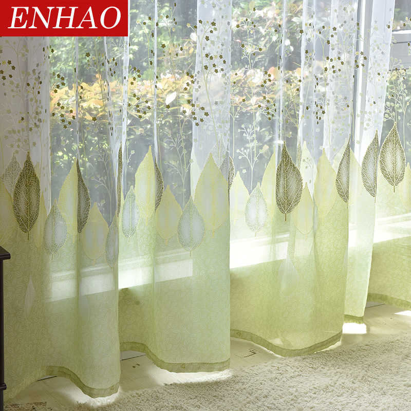 ENHAO Elegant Modern Tulle Curtains for Living Room Bedroom Kitchen Green Leaf Sheer Curtains for Window Tulle Curtains Drapes