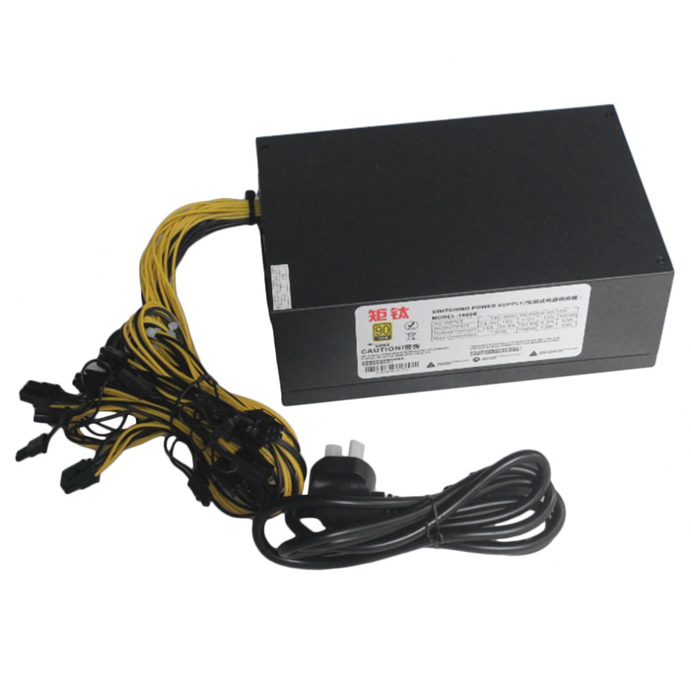1600W Switching Switch Power Supply ETH Ant miner Mining Power 12V Rectangular Titanium Single Way With Double Fans 1600w psu ant s7 a6 a7 s7 s9 l3 miner machine server mining board power supply