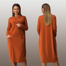 Модные плюс размер повседневная женщины dress 2017 осень зима твердые Колен Платья больших размеров женщин С Длинным рукавом свободные dress