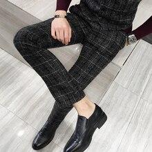 Зимний толстый костюм брюки мужские облегающие Модные клетчатые платья брюки размера плюс деловая официальная одежда мужские брюки для вечеринок 5XL-M