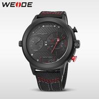 WEIDE luksusowy zegarek sportowy cyfrowy pasek nylonowy czarny okrągły duży wybierania wielu strefa czasowa mężczyźni automatyczny zegarek kwarcowy wodoodporny analogowy w Zegarki kwarcowe od Zegarki na