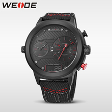WEIDE luxury watch sport digital Nylon strap Black round large dial Multi-time zone men quartz automatic waterproof analog