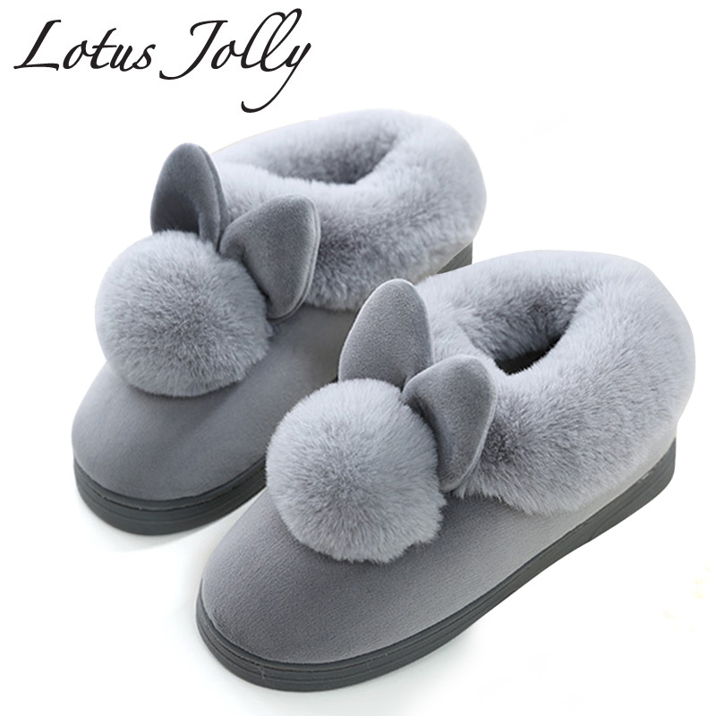 2018 Women Lovely Rabbit Ears Soft House Boots Cotton Warm Women Winter Boots Indoor Home Shoes Ankle boots Woman Botas Mujer bjd doll boots two wear rabbit ears cut short boots in stock page sd13