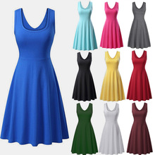 2019 European And American Women's Spring And Summer Stitching Round Neck Sleeveless Big Pendulum Solid Color Sexy Dress цена и фото