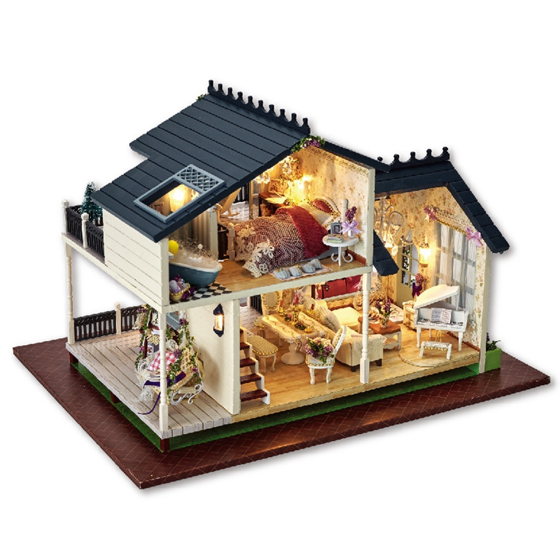 Hot Miniature Wooden Doll House Furniture Kits Toys Provence handmade DIY model house kids birthday gift d030 diy mini villa model large wooden doll house miniature furniture 3d wooden puzzle building model