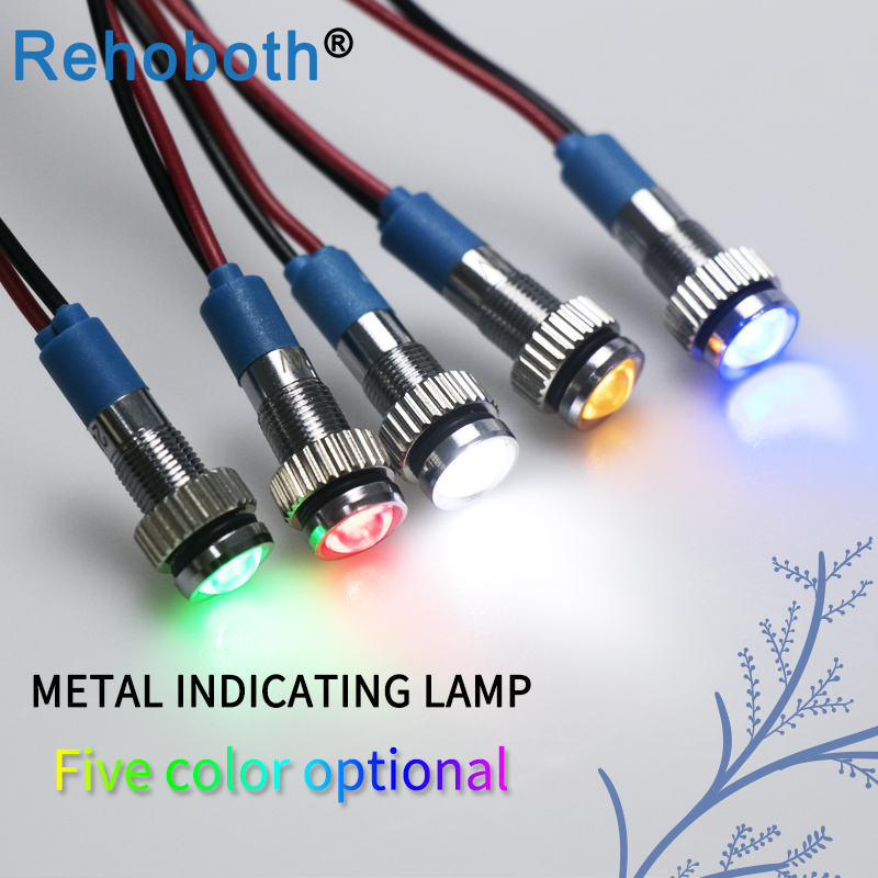 Red,Green,Blue 3 Pack 6mm LED Metal Signal Indicator Dash Light