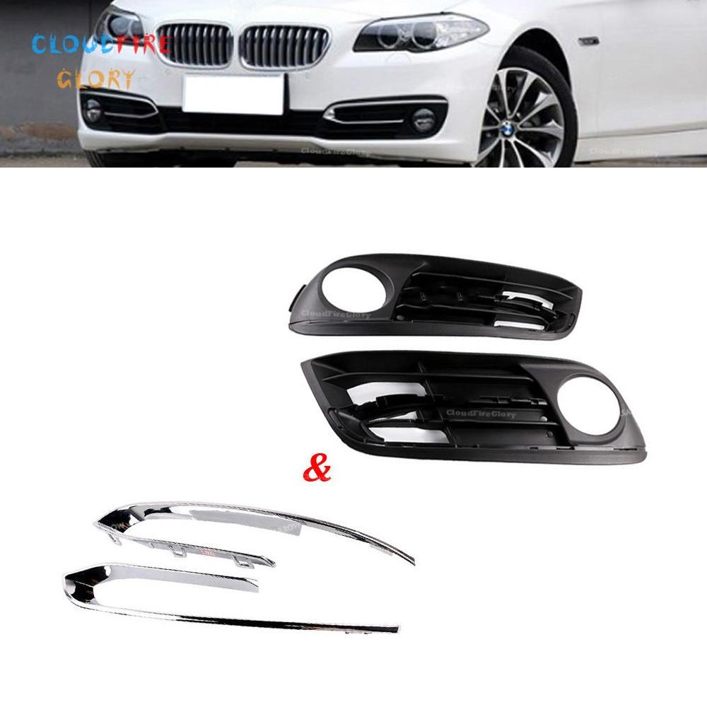 4Pcs Front Bumper Fog Light Foglight Foglamp Chrome Grill Grille Trim Panel LH RH For BMW