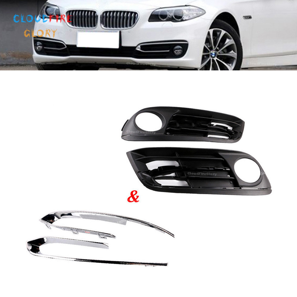 4Pcs Front <font><b>Bumper</b></font> Fog Light Foglight Foglamp Chrome Grill Grille Trim Panel LH+RH For <font><b>BMW</b></font> <font><b>F10</b></font> F11 520i 525d 528i 535i 535iX 550i image
