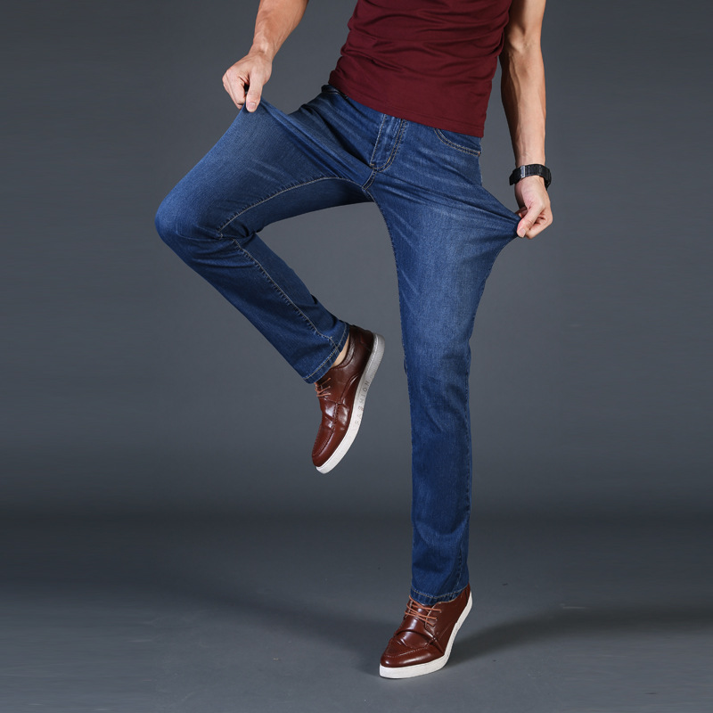 New Mens   Jeans   Denim Pants Summer Thin Slim Regular Fit Straight   Jeans   Elasticity Stretchy Cotton Male