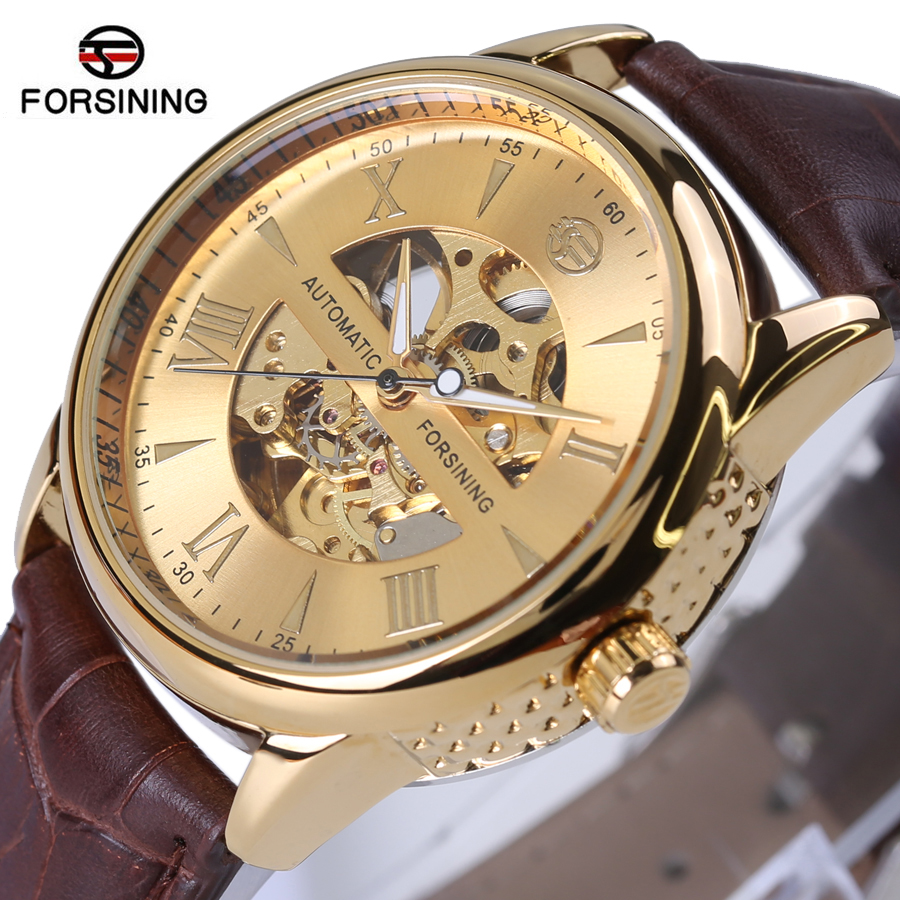 Original FORSINING Leather Relogio masculinos Golden Dial Skeleton Mens Watches Top Brand Luxury Automatic Men Mechanical Watch 2015 forsining relogio pmw342