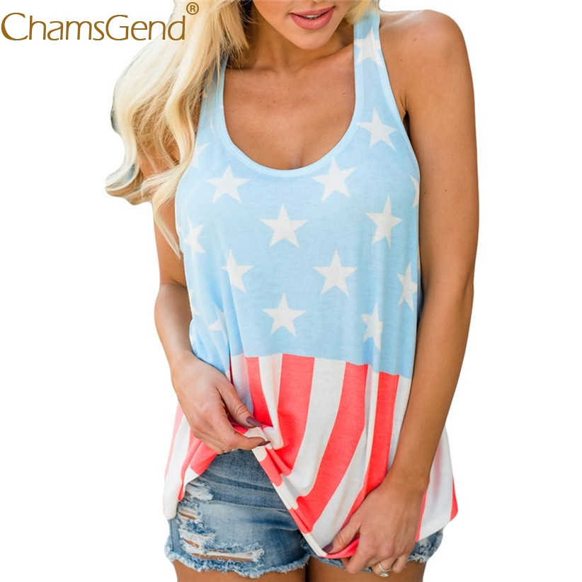 Free Shipping Women Girls America Flag Print Sleeveless Shirt Tank Top For American Independence Day 80515 Drop Ship